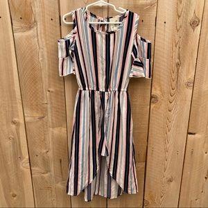 Lily Bleu size 7 stripe cold shoulder romper dress